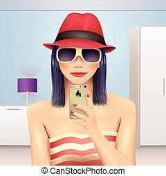 portrait, prendre, chapeau, girl, soi