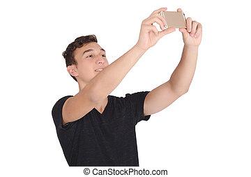 portrait, prendre, selfie, jeune homme