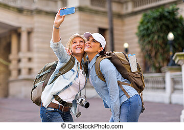 portrait, prendre, soi, femme, touristes