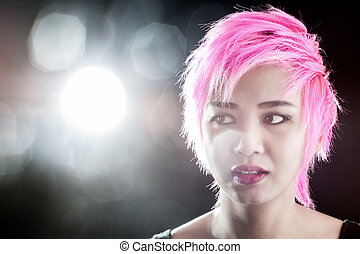 Portrait pretty young pink hair
