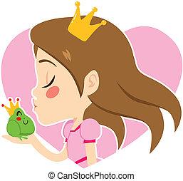 portrait, princesse, grenouille, baisers