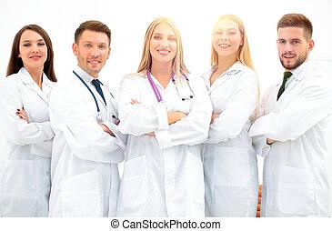 portrait, professionnel, monde médical, groupe, équipe