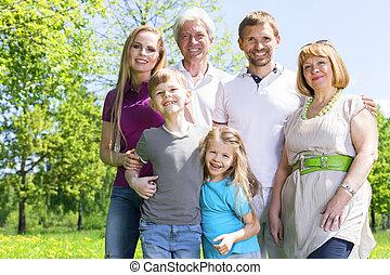 portrait, prolongé, parc, famille