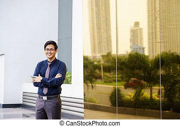 Portrait proud happy confident asian office worker -...