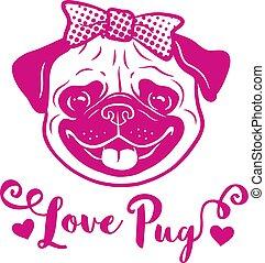 """portrait, pug"""", conception, logo, thème, élément, sourire, tête, enfants, carte, valentine, salutation, carlin, face., animaux familiers, main, dessin animé, jour, heureux, """"love, text., mignon, icône, dessiné, rose, chien, arc, rigolote, chiens"""