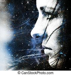 portrait, résumé, étoile, wind., femme