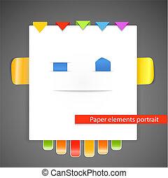 portrait, résumé, papier, éléments