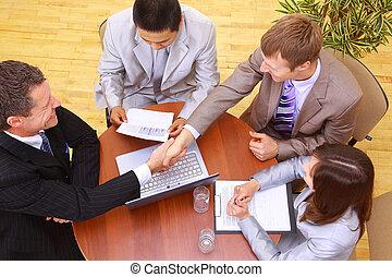 portrait, réunion, businesspeople, business, avoir