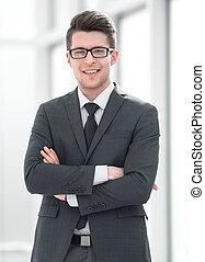 portrait, réussi, jeune, homme affaires