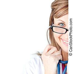 portrait, radiant, docteur féminin