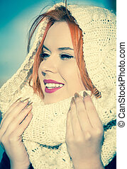 Portrait red haired girl warm scarf