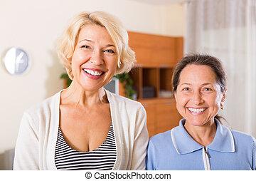 portrait, retraités, intérieur, femme