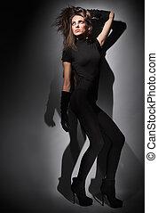 portrait, robe, habillé, jeune, long, combi, noir, sombre, studio, charme, dame, clã©, cheveux, mince