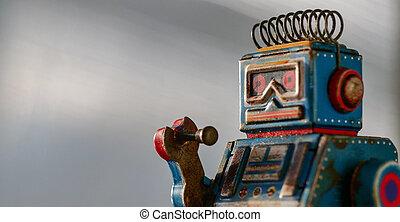 portrait, robot jouet