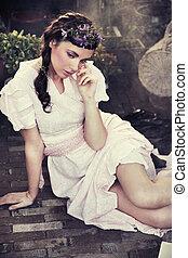 portrait, romantique, beauté, brunette, jeune, style