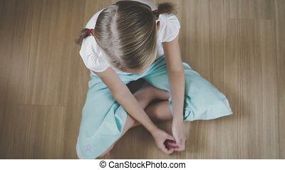 Portrait sad little girl