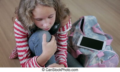 Portrait sad teen girl