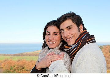 portrait, saison, couple, heureux, automne