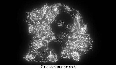 portrait, santa, femme, sorcière, squelette, muerte, girl, ...