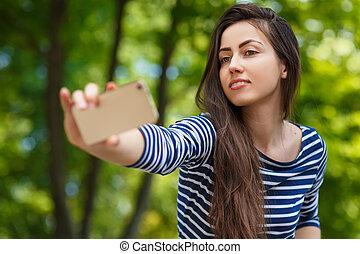 portrait, selfie, dehors