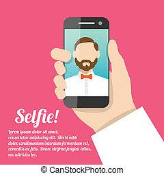 portrait, selfie, soi, affiche