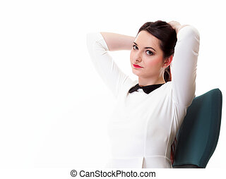 Portrait serious business woman sitting on chair