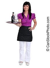 portrait, serveuse
