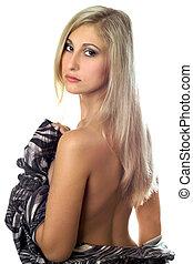 portrait, sexy, jeune, blonde., isolé