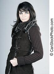 Beautiful Brunette Teen in Winter Coat