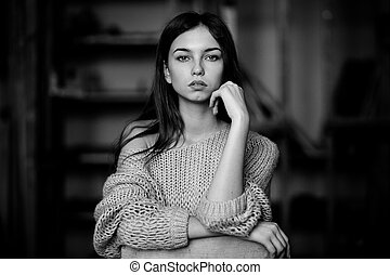 Portrait shot of girl. Black and white