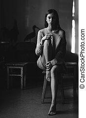 Portrait shot of girl. Black and white