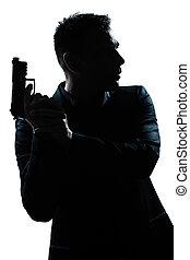 portrait, silhouette, fusil, homme