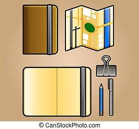 vector illustration of portrait sketchbook and map iconpack
