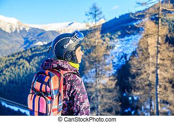 Portrait skier mountains in the background. Ski resort Bad Gasteinl, Austria