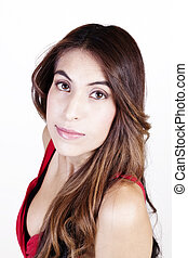 Portrait Skinny Latina Woman With Head Tilted