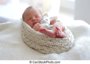 Portrait sleeping newborn baby
