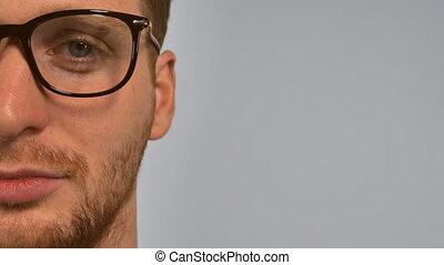portrait smart men with spectacles - close up face...