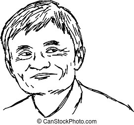 portrait smiling asian man - vector illustration sketch hand drawn with black lines, isolated on white background