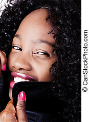 Portrait Smiling Attractive African American Woman Black Jacket