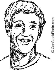 portrait smiling caucasian man - vector illustration sketch hand drawn with black lines, isolated on white background