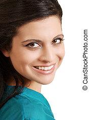 portrait smiling hispanic woman