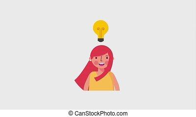 portrait smiling woman bulb idea creativity