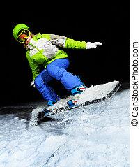 portrait, snowboard, sauter, girl, nuit