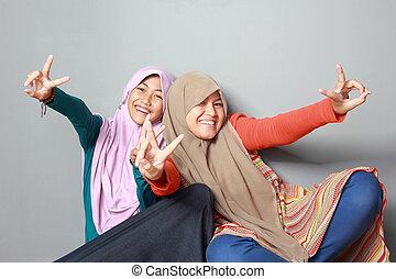 portrait, soeur, musulman, deux