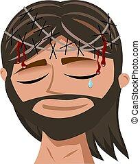 portrait, souffrance, christ, épines, couronne, blanc, jésus, isolé