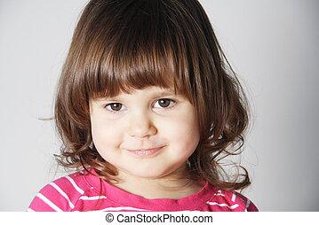 portrait, souriant petite fille