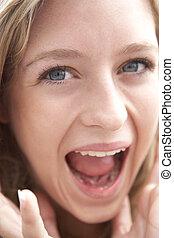 portrait, sourire, adolescente