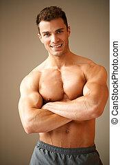portrait, sourire, bras, musculaire, homme