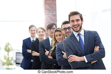portrait, sourire, bureau affaires, équipe