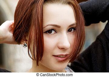 portrait, sourire, closeup, girl
